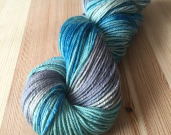 Moraine Lake worsted weight hand dyed self-striping yarn