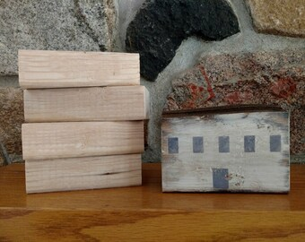 Set of Five Wood Blocks, 4 unfinished and 1 finished, Unfinished Wood Blocks, Rustic, Primitive, Decoupage, Paint, Stain