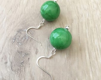 Green Gemstone Earrings Green Jade Earrings Green Dangle Earrings Green Earrings Green Bead Earrings Large Green Earrings Kelly Green