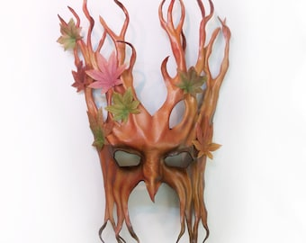 "15 1/2"" Tall Tree Leather Mask with Fabric Leaves greenman greenwoman forest"