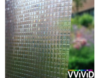Privacy Stain Glass Window Film Vinyl | Decorative Contact Paper Etch Glass Decal | Cut Glass Squares Theme Adhesive Window Cling | VViViD
