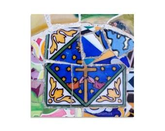 Mosaic Cross Print, Fine Art photography, Wall print tile, Bed decor, Decorative crosse, Gaudi