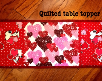 Valentine's day quilted table topper, Quilted Table runner,Valentine's day Deco,Snoop  Dog valentines .
