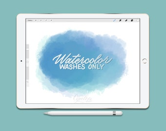 Procreate Brush Watercolor WASH BRUSHES ONLY | Watercolor, iPad lettering,brush lettering, Procreate Brushes, Watercolor Brush, Brush Pack
