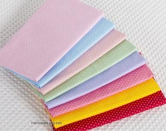 Tiny White Polka Dot Cotton Fabric In Blue Purple Pink Green Spots Dots Fabric- 1/2 yard