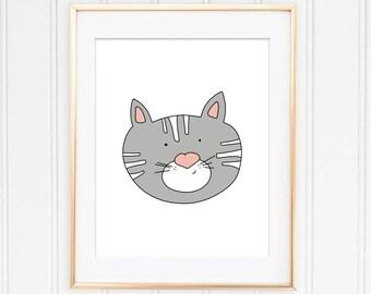 Cat Gift Ideas-Cat Printable-Cat Face-Children Baby Decor-Cat Illustration-Nursery Wall Art-Animal Face-Cat Poster Design-Pet Lovers