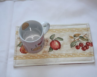 Fabric rug mug set of 2 mug mat