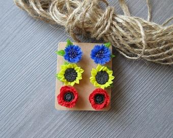 Gift-for-her Jewelry flower Stud earrings Set of 3 earrings for bridesmaids Stud earrings for girl Summer jewelry set Wild flower jewelry