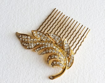 gold hair comb, gold comb, Bridal Hair Comb, Feather hair comb, wedding comb gold crystal rhinestone GOLD SWIRL FEATHER