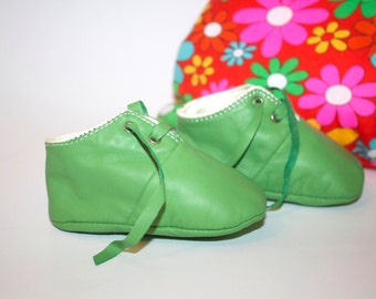 3-6 months  Slippers / Baby Shoes Lamb Leather Green