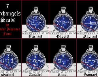 Archangel seal pendant, angel necklace, occult, magic talisman, doctor Faust, Michael, Gabriel, Sachiel, Anael, Raphael, Cassiel, Anael #469