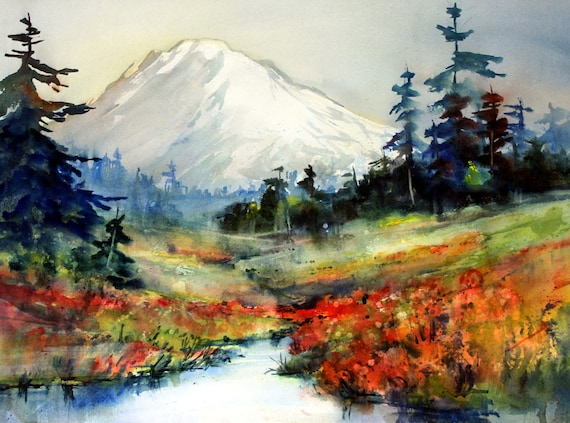 Mt. Adams 78 - signed watercolor print - Bonnie White - Gorge Artist - Columbia River Gorge - Cascade Mountains - Mt. Adams watercolor - Art