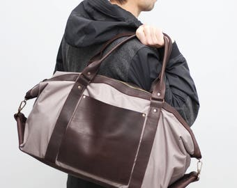 Men's weekender bag coco color water resistant canvas with dark brown leather