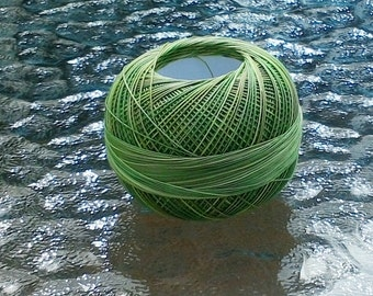 FULL SPOOL - Lizbeth Tatting Thread - Size 20 - Leafy Greens Variegated - Color #138 - Made by Handy Hands - 210 Yards