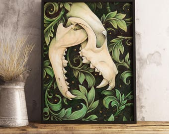 A4 or A3 ART PRINT Wolf Skull Floral