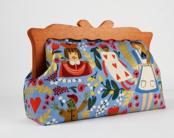 Clutch purse with wooden frame - Alice in Wonderland - Home purse / Cotton and Steel / Rifle Paper Co / Light blue metallic gold / red pink