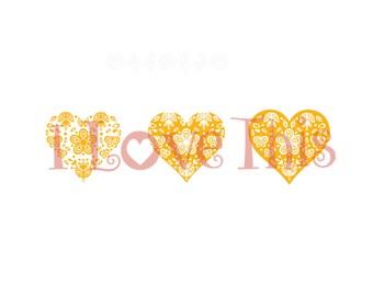 Pyrex Butterfly Gold heart vinyl decal