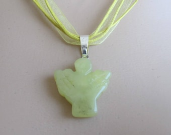 Hand carved GREEN JADE-gemstone-Angel-pendant- choice of necklace-healing stone-special gift for that special person-SA9