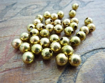 Brass Bead 5mm Bead Vintage Bead Metal Bead Solid Brass Hollow Bead (10)