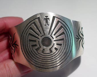 Big Native American HOPI Sterling Silver Man in the MAZE Cuff Bracelet, Signed