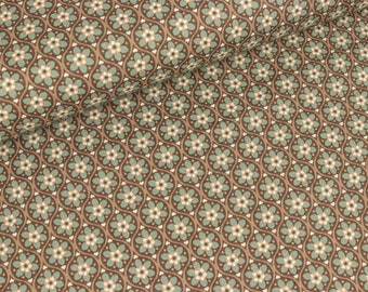 Cotton fabric Julia Flower circles Brown (11.50 EUR/meter)