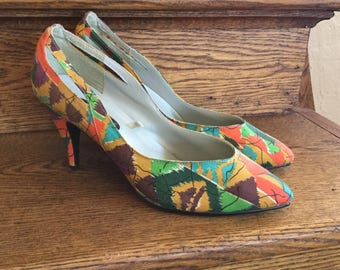 Abstract Soho High Heels - 1980s High Heels - Women's Size 8 Vintage Shoes - Orange, Green, Purple, Mustard, Burgundy