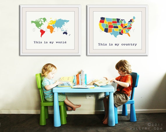 Large world map print set of 2 map prints usa map and world like this item gumiabroncs Images