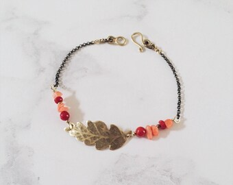 Tropical leaf bracelet, coral red pink & gold, Leaf-Life collection, bamboo coral, tropical beach jewelry