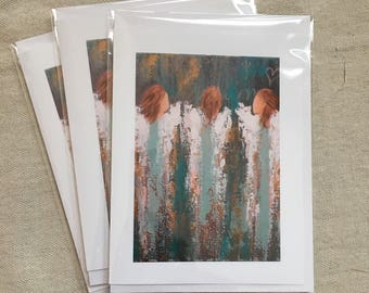 Set of 6 Abstract Angel Fine Art Note Cards