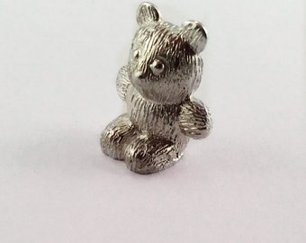 Miniature teddy bear sterling hallmarked silver christening