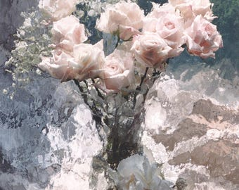 CLEARANCE SALE PRINT, Impressionistic Pink Roses, French Cottage Blue Floral Print, Shabby Chic Decor, Floral Photograph, Pink Roses In Vase