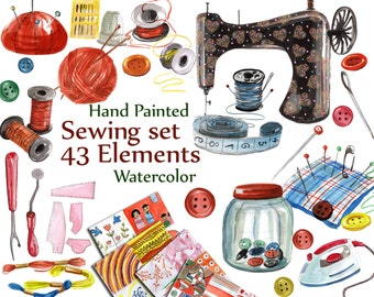 "Sewing Digital Clipart: ""SEWING SET CLIPART"" Watercolor Sewing Machine Clip Art Craft Clipart buttons  needle iron pincushion scissors"