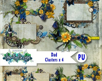 Digital Scrapbooking Clusters set of 4 DAD premade embellishment png clusters to make immediate scrap page