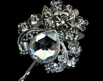 Crystal Bridal Hair Pin, Swarovski Bridal Hair Jewelry, Art Nouveau Bridal Headpiece, Wedding Hair Pin, Bridesmaid Gift for Her, LENA