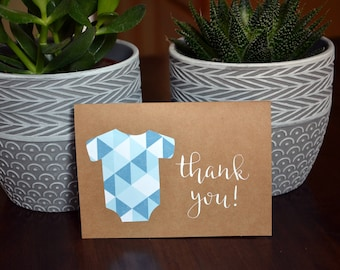 Baby Boy Shower Thank You Cards // Baby Shower Cards // Girl, Boy, Gender Neutral Thank You Card // Baby Onesie Thank You Card // Set of 10