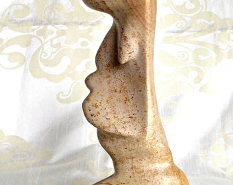 Carved Polished Stone Statue, Mother and Child Statue, Home Decor, Stone Carving, Family, Heavy Polished Stone Statue
