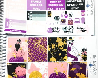 Halloween Time weekly kit | Planner Stickers, Weekly Kit, vertical weekly kit, pumpkin weekly kit, halloween weekly kit, witch weekly kit
