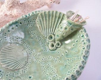 Stormy Seas Beach Treasure Trinket Dish Hand Crafted Ceramic With Genuine Pearls Ring Holder