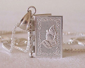 English Mini Silver Bible Lord's Prayer Book Locket Pendant