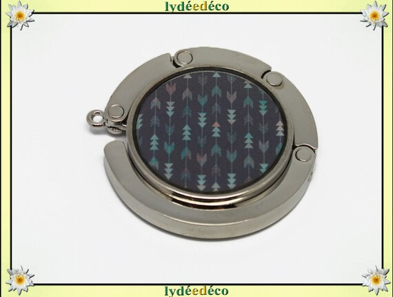 Hang bag Green gray Chevron pink resin on metal silver