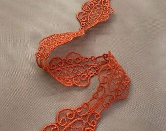 Orange Chantilly lace trim, Solstiss lace trim, Viscose lace trim, Bridal lace Lingerie Lace Scalloped lace Eyelash lace Floral Lace MK00270