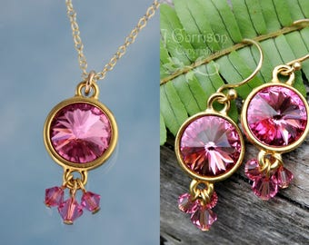 Rose Pink Swarovski Rivoli Crystal & Gold Necklace and Earring Set - 14k gold filled chain and hooks - free shipping USA