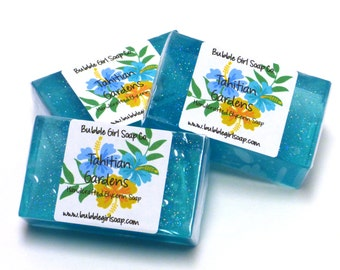 Tahitian Gardens Mini GUEST BAR SLS Detergent Free Glycerin Soap Tiare Flower Rose Orchid