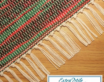 Rag Rug Runner, Hand Woven, Loom Woven, Black, Red, Green, Multicolor, Machine Washable, Smoke Free