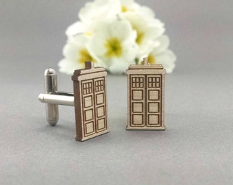 Doctor Who TARDIS Cuff Links - Laser Engraved on Maple Wood - Cufflinks Pair