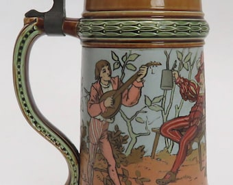 "Late 1800's Mettlach Stein ""Men Drinking"" 1/2 Liter #1527"