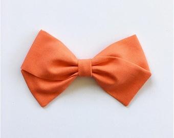 Baby Girl, Toddler, Girls Fabric Bow Headband or Hair Clip - Tangerine