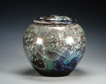 Ceramic Lidded Jar - Red, Green - Crystalline Glaze on High-Fired Porcelain - Hand-Made Pottery - SHIPPING INCLUDED - #G-520
