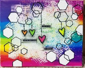 Mixed Media Art Print, Rainbow Art