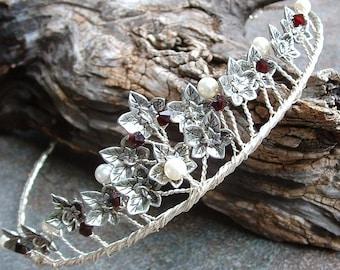 Celtic Ivy Pearl and Garnet Wedding Tiara Crown Circlet